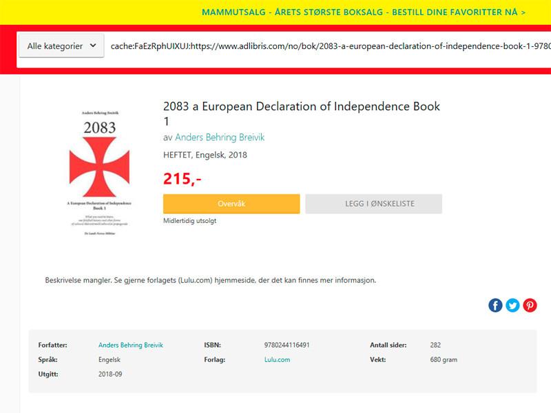 Манифест в трех частях продавался в интернет-магазине Adlibris по цене почти 1000 норвежских крон (103 евро) с сентября 2018 года. Магазин удалил его после того, как с ним связались журналисты