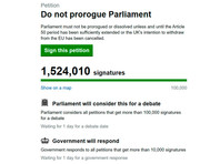 Свыше 1,5 миллиона человек подписали к вечеру четверга размещенную на сайте парламента Великобритании петицию с требованием не допустить приостановки работы Палаты общин (нижней палаты законодательного органа)