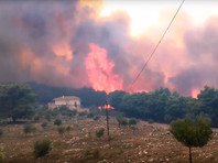 На греческом курортном острове лесной пожар подбирается к населенным пунктам (ФОТО, ВИДЕО)