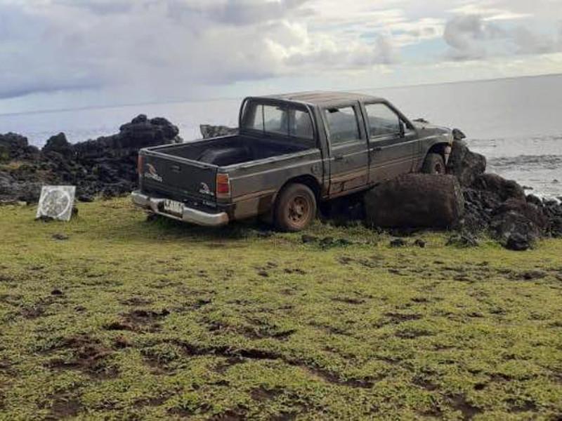 На острове Пасхи автомобиль разрушил священного истукана