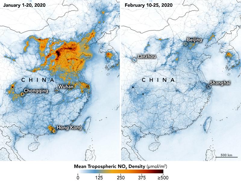 """Эпидемия коронавируса привела к улучшению экологии в Китае, заметили спутники NASA"""" />"""