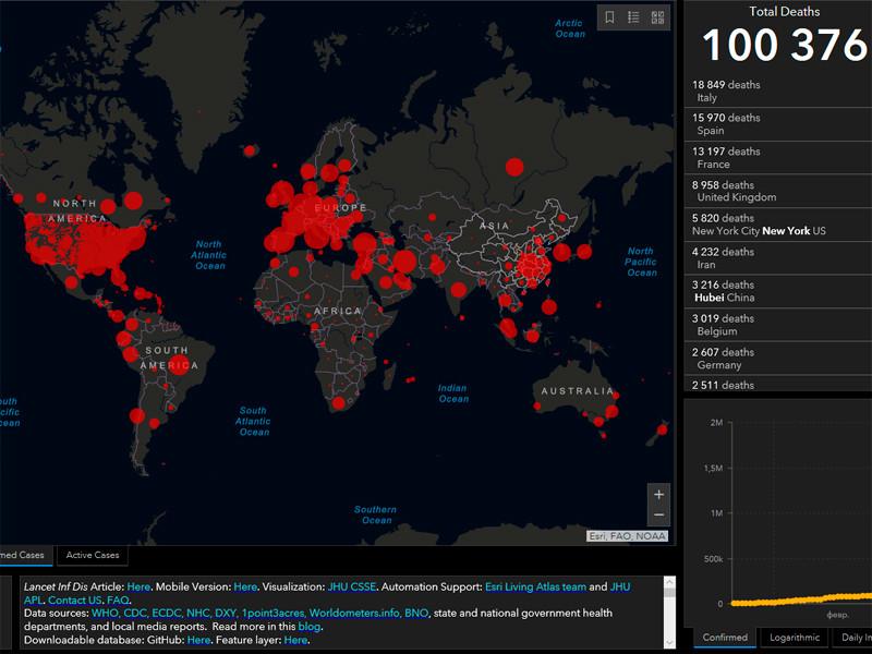 Число умерших от коронавируса в мире превысило 100 тыс. человек