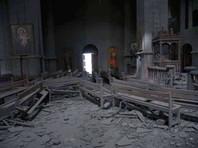 Собор Святого Христа Спасителя в карабахском городе Шуши после обстрела азербайджанскими войсками