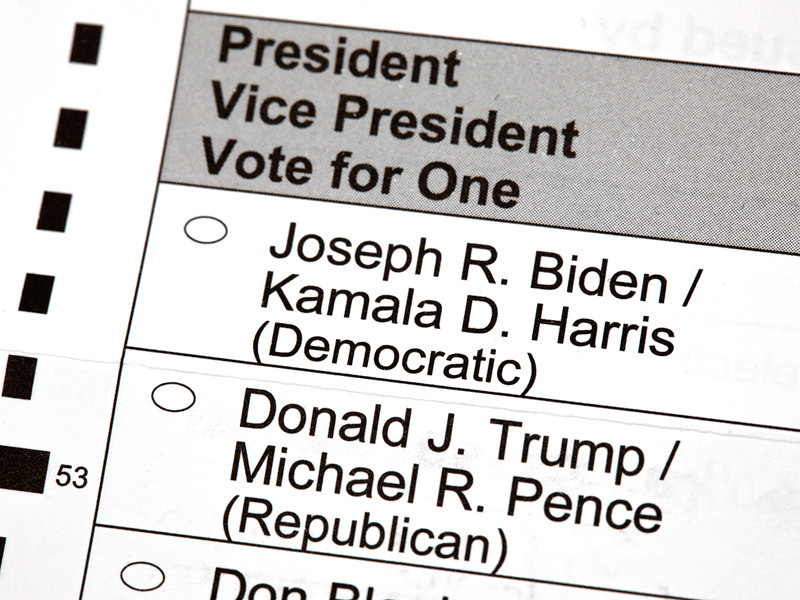 Бюллетень для голосования на президентских выборах, Мэдисон штат Висконсин