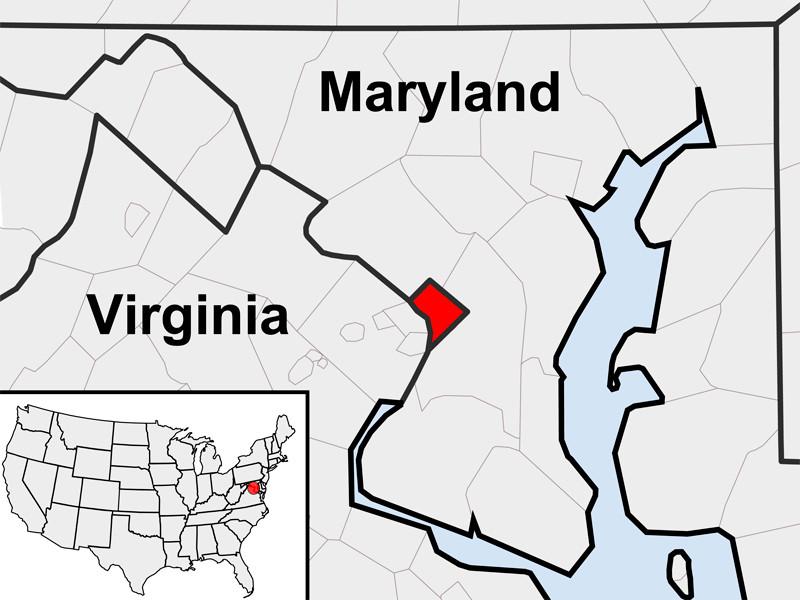 На карте Вашингтон выделен красным цветом