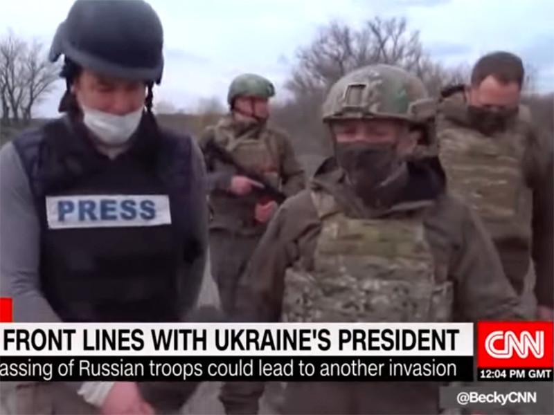 Во время посещения передовой линии под Мариуполем Владимир Зеленский дал интервью корреспонденту CNN