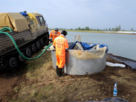 Работы в районе ликвидации последствий техногенной аварии под Норильском, 6 июля 2020 года