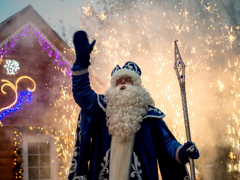 """Дед Мороз на праздновании своего дня рождения в московской усадьбе в парке """"Кузьминки"""", 18 ноября 2016 года"""