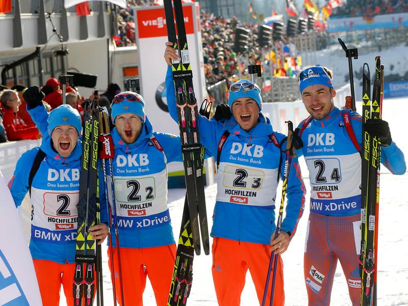 Российские биатлонисты выиграли эстафету на чемпионате мира