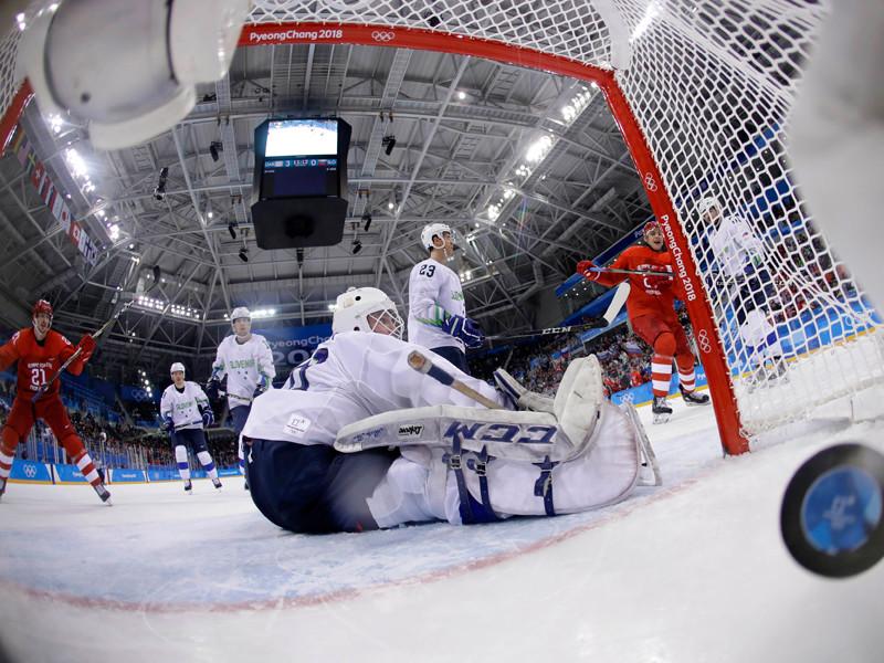 Мужская сборная России разгромила команду Словении во втором туре олимпийского хоккейного турнира и набрала свои первые очки в групповом раунде