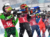 Женская сборная Белоруссии по биатлону одержала победу в эстафете 4 по 6 километров на Олимпийских играх в Пхенчхане