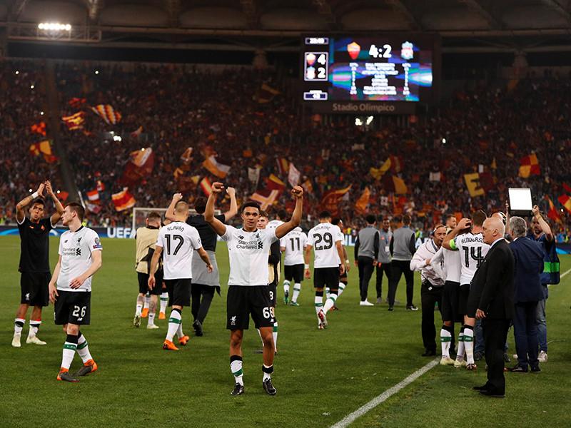 """Футболисты английского """"Ливерпуля"""" в восьмой раз в своей истории завоевали путевку в финал Лиги чемпионов УЕФА, оказавшись сильнее итальянской """"Ромы"""" по сумме двух полуфинальных встреч"""