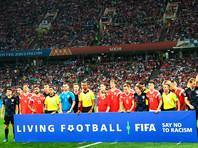 Игроки сборных России и Хорватии перед матчем 1/4 финала чемпионата мира по футболу