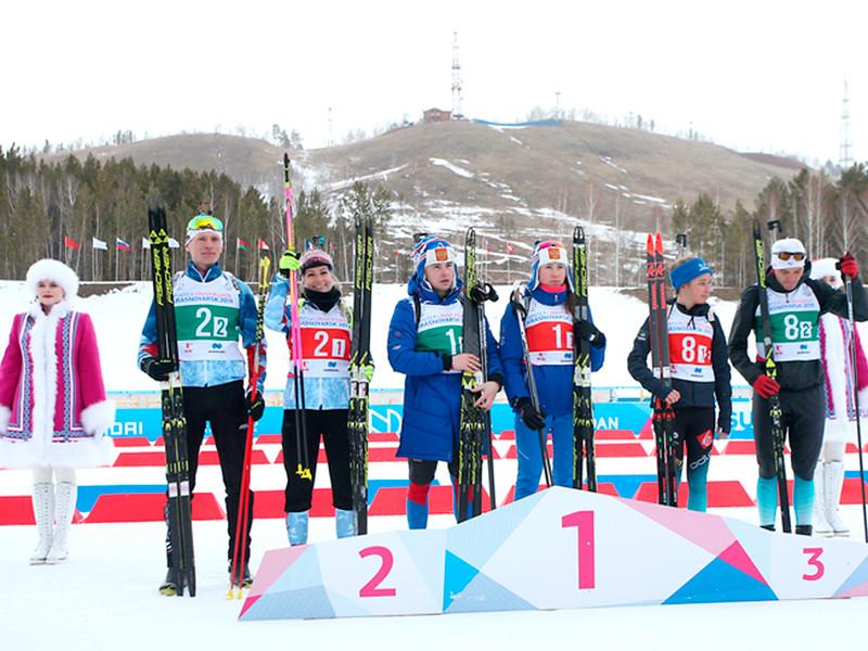 В субботу сборная России по биатлону в составе Александра Дедюхина и Валерии Васнецовой выиграла первое место в одиночной смешанной эстафете на Универсиаде в Красноярске