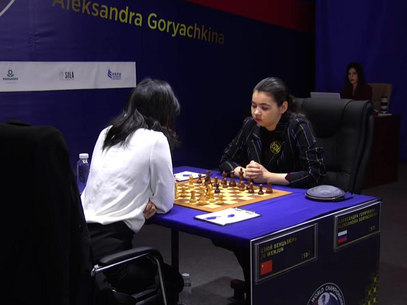 Российская шахматистка Александра Горячкина сыграла вничью черными фигурами с китаянкой Цзюй Вэньцзюнь в предпоследней партии матча за шахматную корону, который проходит в эти дни во Владивостоке