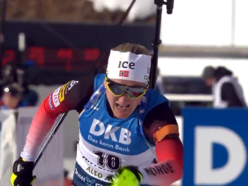 орвежская биатлонистка Марте Олсбю Ройселанн выиграла спринтерскую гонку на чемпионате мира в итальянском Антхольце
