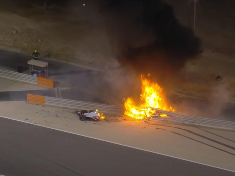 """Пилот """"Формулы-1"""" едва не сгорел заживо после жуткой аварии на Гран-при Бахрейна"""