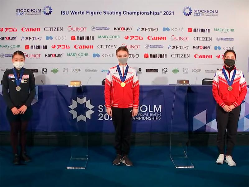 Анна Щербакова стала первой в короткой программе на чемпионате мира по фигурному катанию. Второе место заняла японка Рика Кихира, третье - Елизавета Туктамышева (78,86)