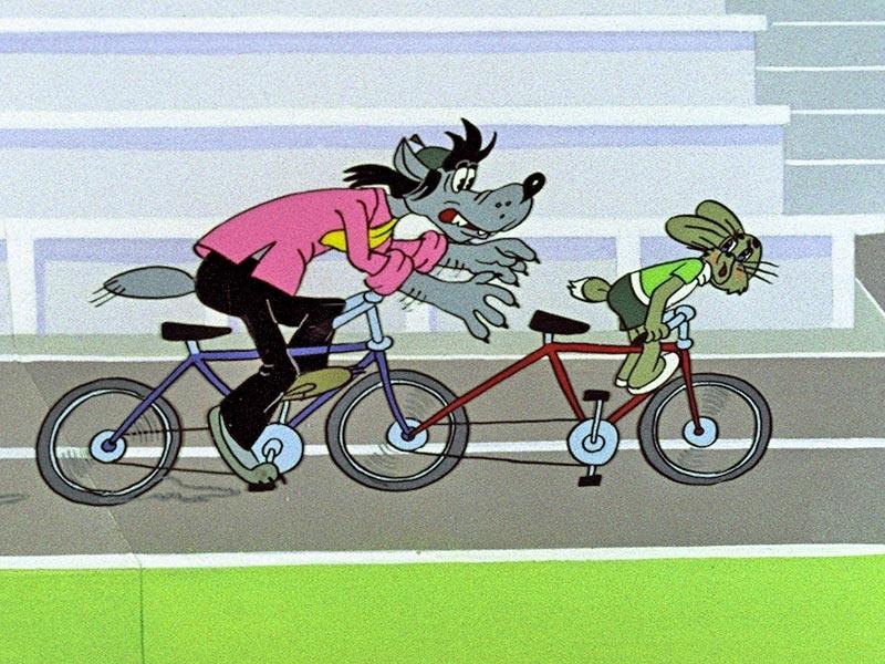 Волк ну погоди на велосипеде картинки для