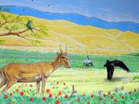 Британский художник написал фреску в калмыцкой сельской школе, чтобы спасти сайгаков (ВИДЕО)