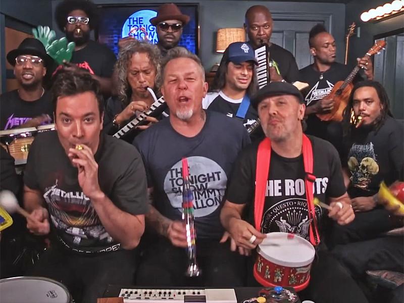 Музыканты легендарной группы Metallica сыграли свой хит Enter Sadman на игрушечных инструментах, когда участвовали в комедийном шоу Джимми Фэллона на телеканале NBC