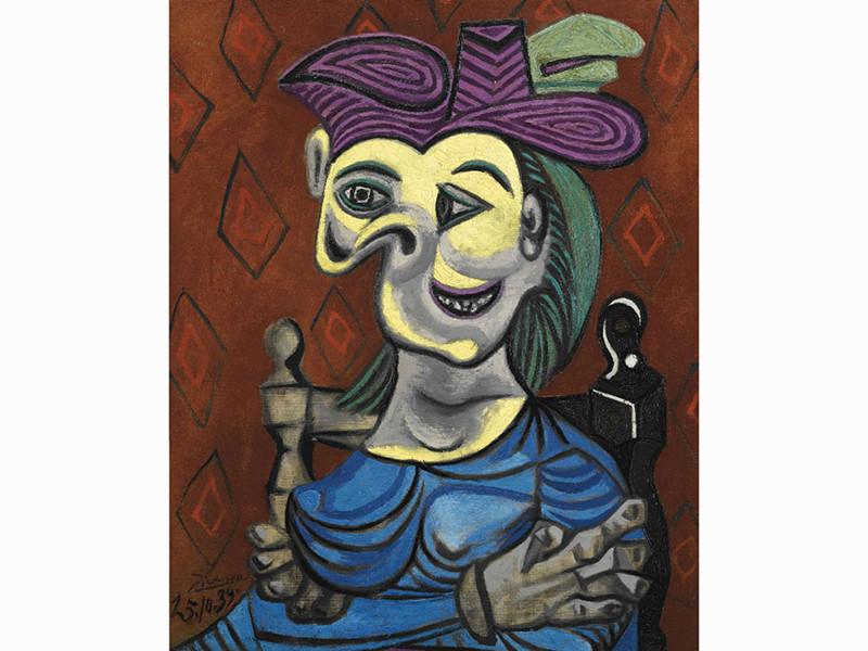 """Одна из самых известных работ Пабло Пикассо - """"Сидящая женщина в голубом платье"""""""