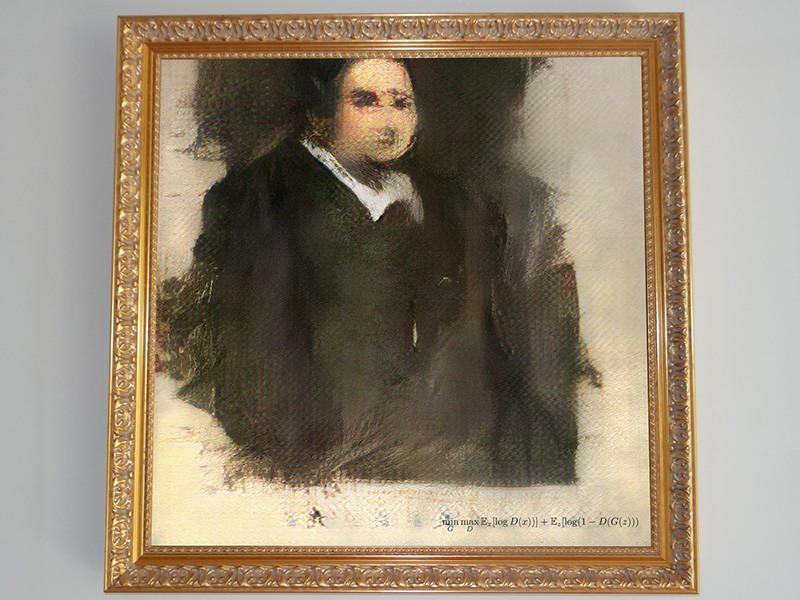 """На аукционе Christie's в Нью-Йорке впервые продана картина, созданная искусственным интеллектом. """"Портрет Эдмонда де Белами"""" ушел с молотка за 432,5 тыс. долларов, хотя первоначально ее оценивали всего в 10 тысяч"""