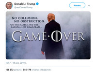 """Дональд Трамп в связи с публикацией сокращенной версии доклада спецпрокурора Роберта Мюллера разместил в Twitter фотоколлаж, в котором использован фирменный шрифт """"Игры престолов"""""""
