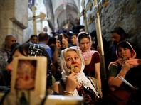 Паломники из многих стран пришли в субботу в храм Гроба Господня в Иерусалиме