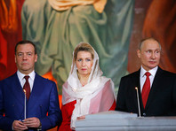 Путин и Медведев приняли участие в пасхальном богослужении в храме Христа Спасителя
