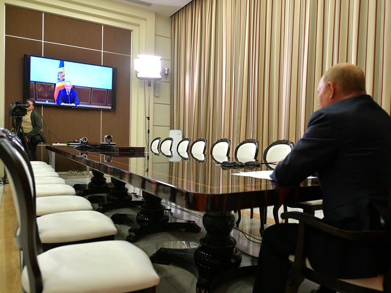 Встреча Владимира Путина с Игорем Додоном в режиме видеоконференции, сентябрь 2020 года