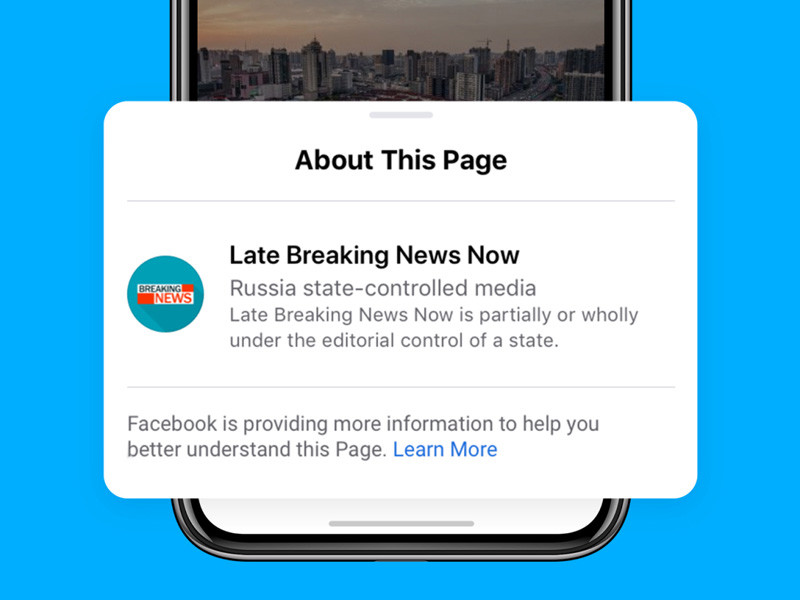 Социальная сеть Facebook приступила к маркировке страниц контролируемых государством СМИ. Об этом сообщается в блоге Facebook. О планах ввести такую маркировку компания объявила осенью прошлого года