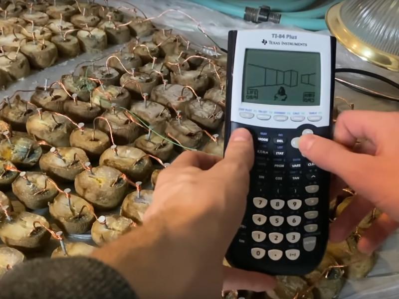 Видеоблогер запустил шутер Doom на калькуляторе с батарейкой из картофеля