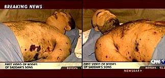 Загримированные тела Удея и Кусая показали журналистам