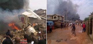 В Нигерии пассажирский самолет упал на город