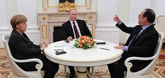 Меркель и Олланд продолжают переговоры с Путиным о судьбе Донбасса