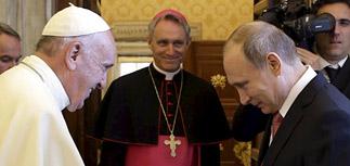 Опоздавший Путин уехал от папы Римского с ангелом-миротворцем
